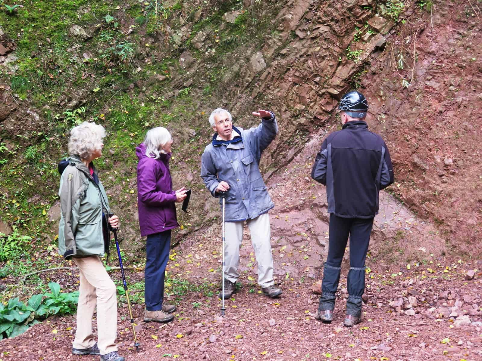 Tectonics explained by Nigel Woodcock at the Lickey Quartzite Barnt Green Road quarry.