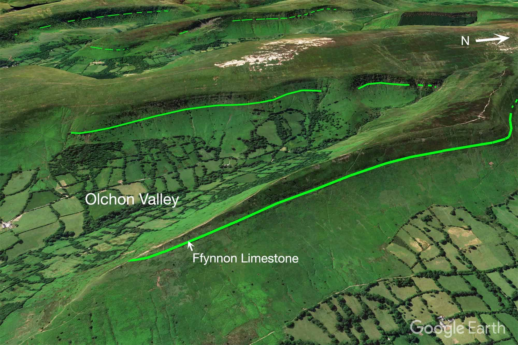 Outcrop of Ffynnon Limestone Black Mountains